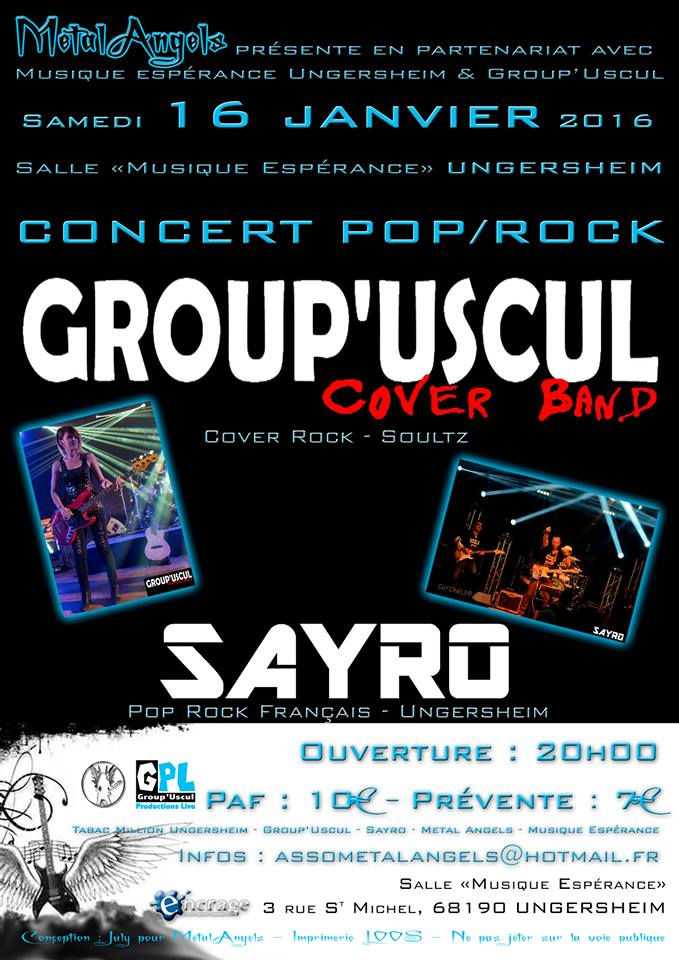 Concert GROUP'USCUL (Cover Rock – Soultz) / SAYRO (Rock – Ungersheim), 16 janvier2016